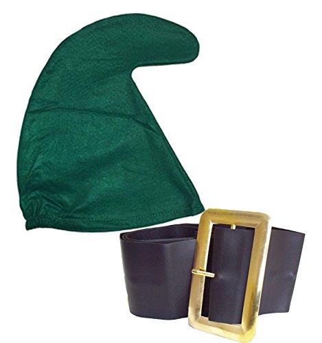 jokeshop. COM Sieben Zwerge/Dwarves Schlumpf Hat GNOME Hat und Gürtel Set Snow White Fancy Kleid Party (Grün) (Schlumpf Party Supplies)
