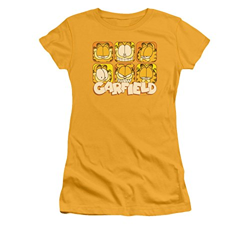 Garfield Comic Many Faces Juniors Sheer T-Shirt Tee