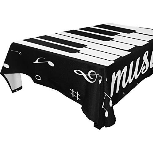 Use7 Rechteckige Tischdecke mit Musiknoten und Klavier-Motiv, für Zuhause, Küche, Party, Picknick, Hochzeit, Halloween, Weihnachten, Textil, Multi, 54 x 72 inch