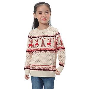 Abollria Damen Lang Strickpulli mit Rentiermuster Weihnachtspullover Rundhals Winterpulli Christmas Sweater für Frauen Mädchen