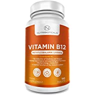"Vitamin B12 Methylcobalamin 1000mcg 180 Tablets (6 Month Supply) by Nutribioticals | Contributes to the reduction of tiredness and fatigue, normal function of the immune system & red blood cell formation - AMAZON'S CHOICE for ""Vitamin B12"""
