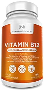 Vitamin B12 Methylcobalamin 1000mcg 180 Tablets (6 Month Supply) by Nutribioticals