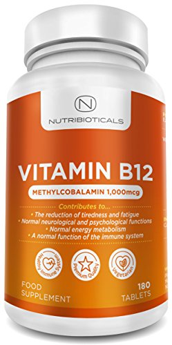 Vitamin B12 Methylcobalamin 1000mcg 180 Tablets (6 Month Supply) by Nutribioticals