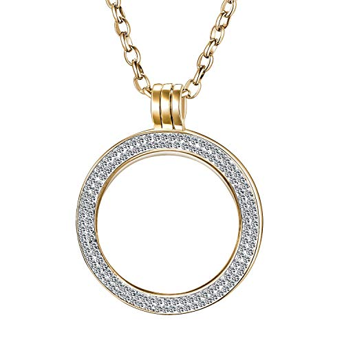 Morella Damen Halskette 70 cm Edelstahl mit Schmuckmünze Zirkonia Coin Anhänger 33 mm Gold