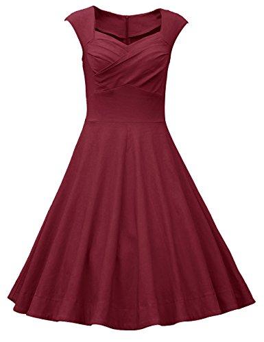 DRESSTELLS, Vintage 1950's Audrey Hepburn Robe de soirée Cocktail, Bal Style années 50, Rockabilly, Swing, Bordeaux L