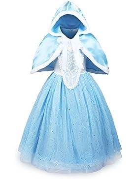 ReliBeauty Mädchen glänzendes Paillette Prinzessin Kleid Kostüm, hellblau