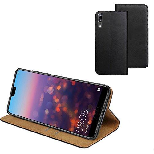 MOELECTRONIX ECHT Leder Buch Klapp Tasche Schutz Hülle Flip Case Etui für Huawei P20 Dual SIM EML-L29