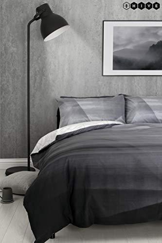 (Hive Bettdeckenbezug und Passender Kissenbezug, Ombré-Stil, Geometrisches Design, einfarbig, Marmor, wendbar, Grau, Doppelbett)
