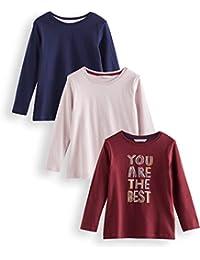 Marca Amazon - RED WAGON Camisa Manga Larga Niñas, Pack de 3