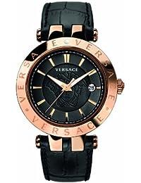 Versace 23Q80D008 S009 - Reloj analógico de cuarzo unisex, correa de cuero color negro (agujas luminiscentes)