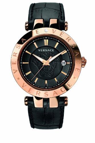 Versace-23Q80D008-S009-Reloj-analgico-de-cuarzo-unisex-correa-de-cuero-color-negro-agujas-luminiscentes