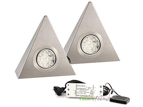 2er Set LED Dreieckleuchte Unterbauleuchte Küchenleuchte Küche LED EDELSTAHL 2x3W Warmweiß 3200K mit Zentralschalter