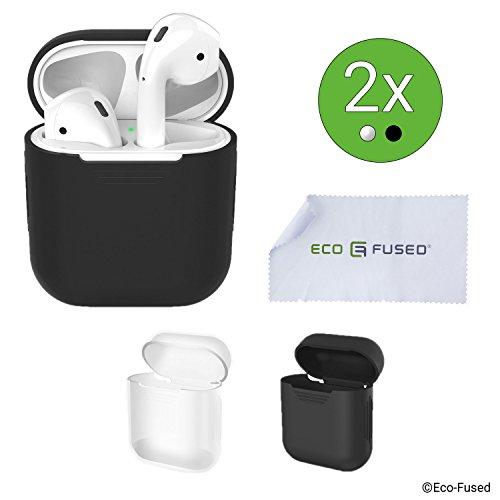 Schutzhüllen für Apple AirPods Gehäuse - 2er-Pack (Schwarz und Transparent) - Silikonschalen - Schützt das Gehäuse Ihrer AirPods vor Kratzern und Stößen - Bietet besseren Grip - Nahtlose Passform -