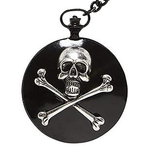 WIDMANN?Reloj de bolsillo con cadena calavera Unisex-Adult, Negro, talla única, vd-wdm46751