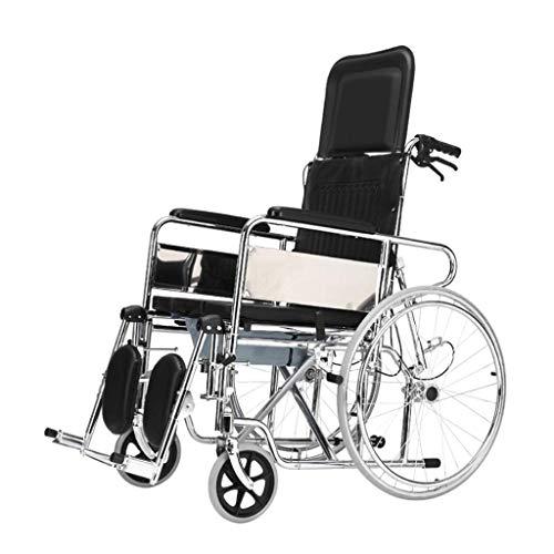 LUNYI Faltbarer Rollstuhl , Hohe Rückenlehne Mit Selbstantrieb Kann Vollständig Zurücklehnen, Dusche Und Toilettenstuhl
