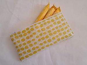 Handmade Oilcloth Tampon Case Holder - John Lewis Citrine Luna Spot Fabric
