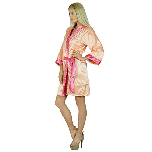 Bimba Women Short Klassische Satinrobe Getting Ready Bride Bridesmaid Robes Kimono Sleeve Coverup Pfirsich