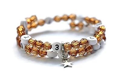 Bracelet d'allaitement de couleur marron avec perles à facettes en acrylique