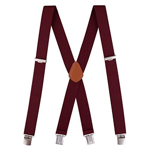 Kostüm Sie Vier Verbinden - Neihou Hosenträger für Herren x-form Breit 3.5cm mit 4 Starken Clips Stark Hosenträger Herren Rot S003A12 MEHRWEG