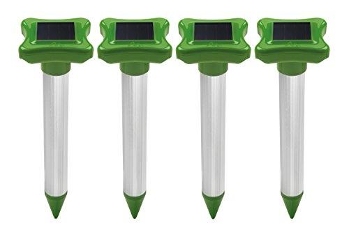 Gardigo Maulwurfschreck Solar 4er Set | Maulwurfabwehr | Maulwurfvertreiber mit Alu-Stab | Wühlmausvertreiber für den Garten