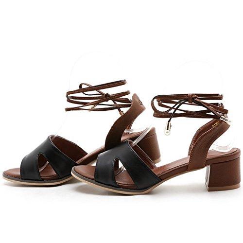 COOLCEPT Femme Mode Lacets Sandales Bout Ouvert Talon Bloc Slingback Chaussures Noir