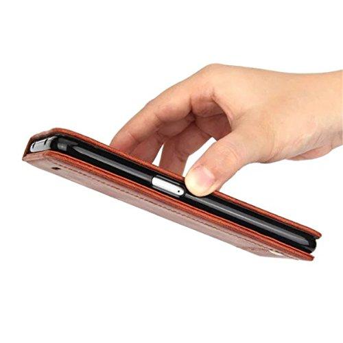 iPhone 6S Plus Coque, iPhone 6 Plus Coque, Lifeturt [ Rouge ] [book-style] Flip Case Coque en PU Cuir Housse de Protection Étui à rabat Case Cover Ultra Slim Portefeuille PU Cuir avec stand de Carte S E02-Marron5415
