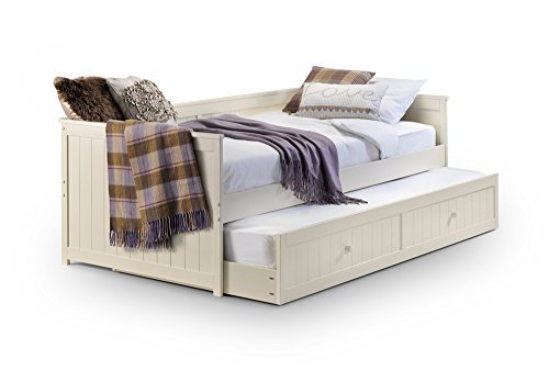 Happy Beds Jessica Guest Bed Wooden Stone White Space Saving Frame Bedroom 3' Single 90 x 190 cm