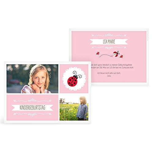 greetinks 5 x Einladungskarten Kindergeburtstag 'Marini' in Rosa | Personalisierte Geburtstagskarten zum selbst gestalten | 5 Stück Einladungen Kinder Geburtstag - Jungen & Mädchen (Personalisierte Kinder-geburtstag Einladungen)