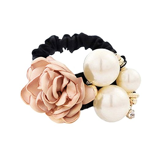 growthci-women-girls-rose-flower-pearls-beads-hair-band-rope-scrunchie-ponytail-holder-champagne