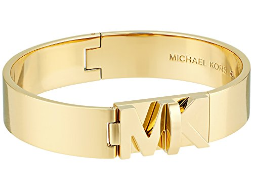 Michael Kors Womens Iconic Hinged MK Logo Bangle Bracelet