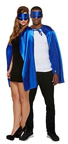 Erwachsene Herren Damen Unisex Blau Grün Rot Schwarz Superhelden Held Villain Umhang Maske Maskenkostüm - Blau, One Size, One Size