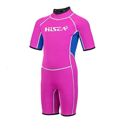 Storerine Kurzarm-Kind einteiliger Tauchanzug 2,5 mm Surfen Neoprenanzug Light Blue Pink Hisea Siamese Kurzarm-Kinder-Tauchanzug 2.5mm