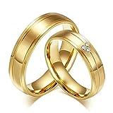 Beglie 6MM Edelstahl Trauringe Verlobungsring Eheringe Paarringe Poliert Streifen Zirkonia Gold Paar Ringe Größe 60 (19.1)
