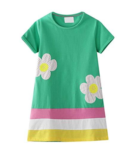 id Kurzarm Baumwolle Cartoon Print Muster grün Regenbogen Ton Kleid Kind Mädchen T-Shirt 1-8 Jahre ()