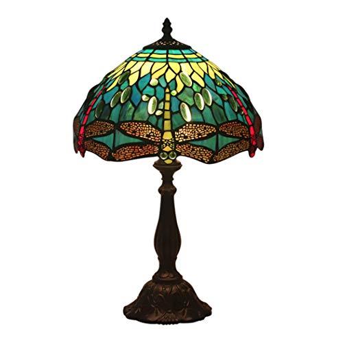 12-Zoll-Tiffany-Stil Tischlampe Libelle Glasmalerei Grün Schatten Schreibtischlampe Wohnzimmer Schlafzimmer neben Cafe Decor Lampe mit Legierung Basis