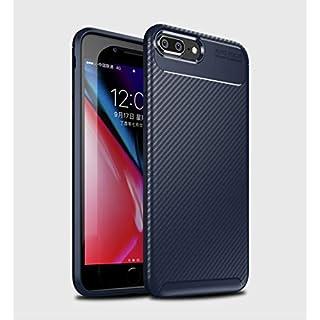DoubTech Hülle iPhone 7 Plus 8 Plus Handyhülle Weiches Silikon Kohlefaser-Muster Schweißbeständig Anti Fingerabdruck Internes Kühlmuster Stoßfest Verstärkungskante Schutzhülle