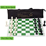 "Paramount Dealz 17""x 17"" Professional Vinyl Chess Set (Fide Standards)- with 2 Extra Queens/Carry Pouch, Green"