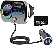 Guoying Bluetooth FM Transmitter Car QC3.0 Fast Charger Music Player+32GB TF Card