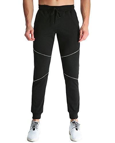 MODCHOK Herren Jogging Hose Sweatpants Trainninghose Knie Reißverschluss Freizeit Schwarz M