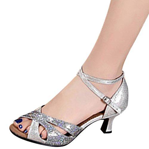 Oasap Women's Peep Toe Sequins Cross Strap Latin Dance Shoes silver