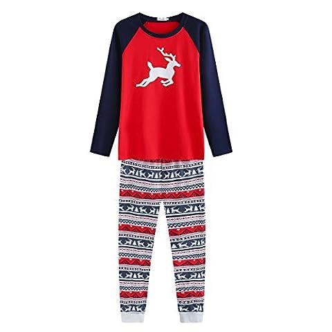 PanDaDa Weihnachten Familie passenden Pyjamas für Mama Papa Kinder Nachtwäsche Set Elch Hirsch gestreiften Nachtwäsche Outfits