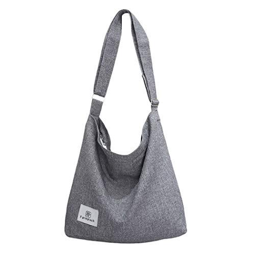 Bolsos Mujer,Fanspack Bolso Bandolera Mujer de Lona Hobo Bag Bolsos de Crossbody Bolso Shopper Multifuncional (Gris)