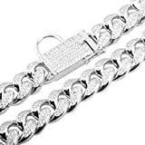 DINGG 18mm Dog Collar, Gold Steel Full Diamond Dog Chain Collar Strong and Durable, Prevent Big Dog Bites,Silver,18