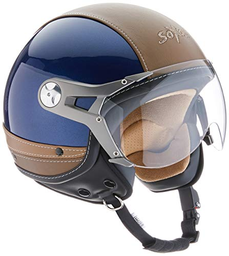 SOXON SP-325-URBAN Blue · Motorrad-Helm Retro Vintage Cruiser Jet-Helm Vespa-Helm Bobber Biker Pilot Scooter-Helm Mofa Chopper Helmet Roller-Helm · ECE zertifiziert · Leder Design · mit Visier · inkl. Stofftragetasche · Blau · XL (61-62cm)