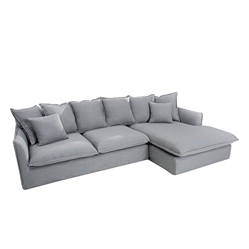 Großes Ecksofa HEAVEN 255cm Leinenstoff in silbergrau Leinen Couch Eckcouch Sofa
