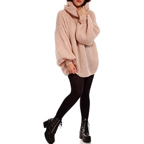 Made Italy Damen Rollkragen Bishop Pullover in Oversize Form Grobstrick Pulli XXL Look …, Farbe:Rosa, Größe:One Size
