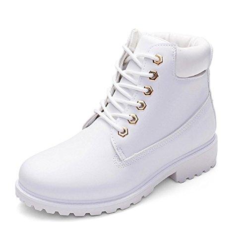 FEITONG Frauen Martin Stiefel Damen Winter Freizeit Wasserdicht Schuhe Schnürung Knöchel Stiefel (CN 36=EU 35, Weiß) (Erwachsene Schnee Weiß Schuhe)