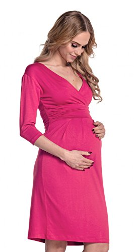 Happy Mama Femme. Robe de maternité plissé. Convient pour l'allaitement. 001p Fuchsia