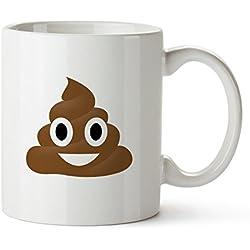 Taza Emoji - Taza Impresa - Emoji: la caca con ojos - Versión Standard - Taza de café blanca impresa con emoticono - Regalos para amigos y amigas - Ideas de regalo divertidas para el cumpleaños
