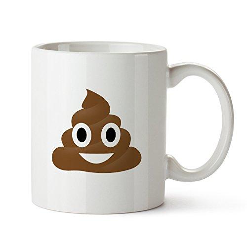 Tassenwerk – Tasse mit Emoji Aufdruck – Haufen – Standard – Bedruckte Kaffeetasse mit Emoticon in weiß als Geschenk für Freunde – Lustige Geschenkideen zum Geburtstag